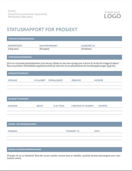 Statusrapport for prosjekt