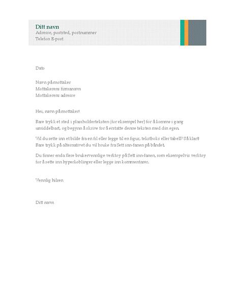 Forretningsbrev (Utforming – Salgsstriper)
