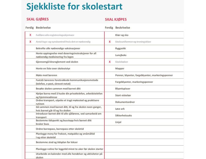 Sjekkliste for skolestart