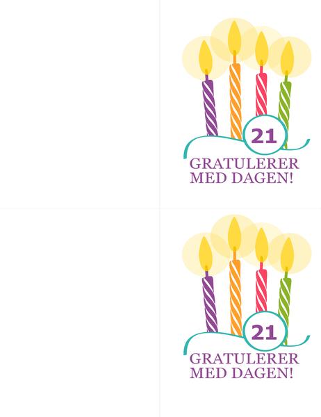 Fødselsdagskort for spesielle fødselsdager (2 per side, for Avery 8315)