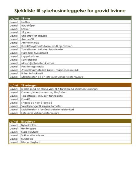 Sjekkliste til sykehusinnleggelse for gravid kvinne
