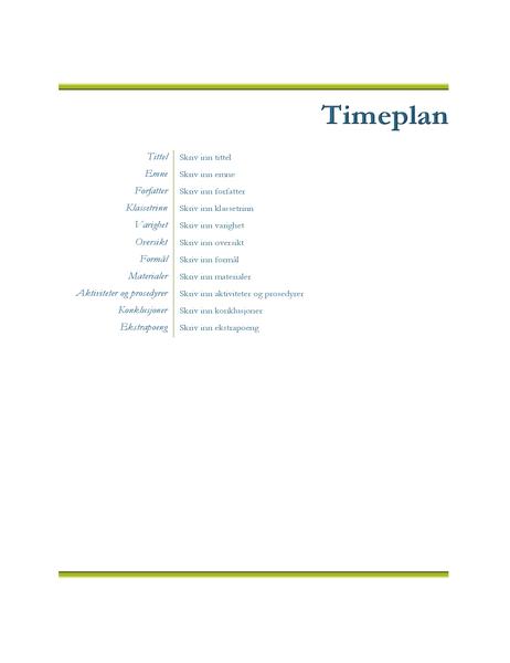 Timeplan for lærere