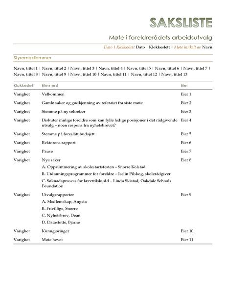 Saksliste for foreldrerådets arbeidsutvalg