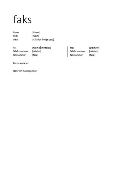 Faksforside (uformell)
