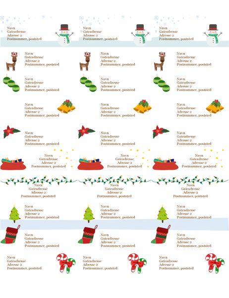 Gaveetiketter (design med julemotiv, 30 per side, fungerer med Avery 5160)