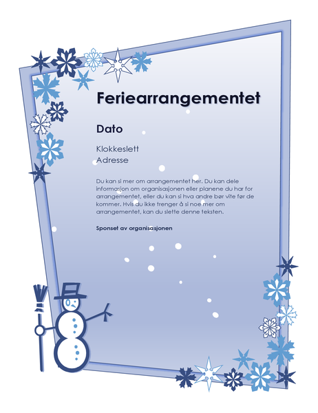 Flygeblad for vinterferiearrangement