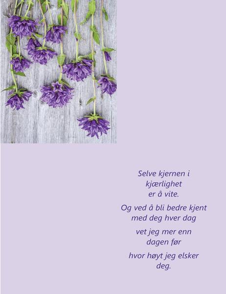 Valentinsdagskort med dikt (brettet i fire)