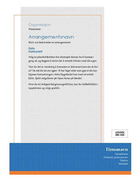 Generelt flygeblad for arrangement