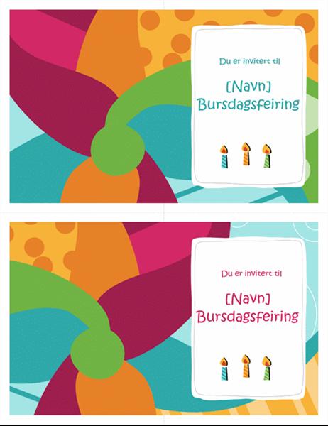 Invitasjon til bursdagsselskap (2 per side, Lys utforming)