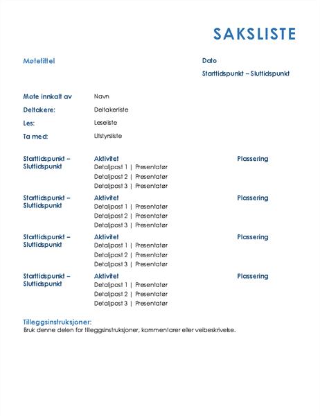 Agenda for heldagsmøte (formell)