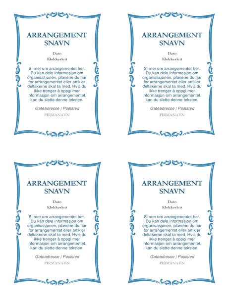 Arrangementsinvitasjoner (4 per side)