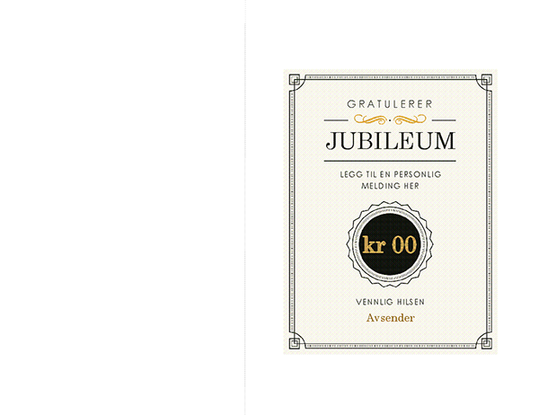 Gavekort for jubileum