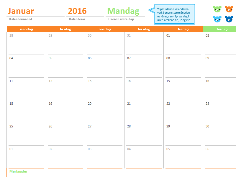 Månedlig kalender for alle år (tolv sider med utformingen Fargerike bjørner)