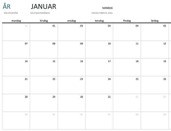Kalender for én måned i et hvilket som helst år