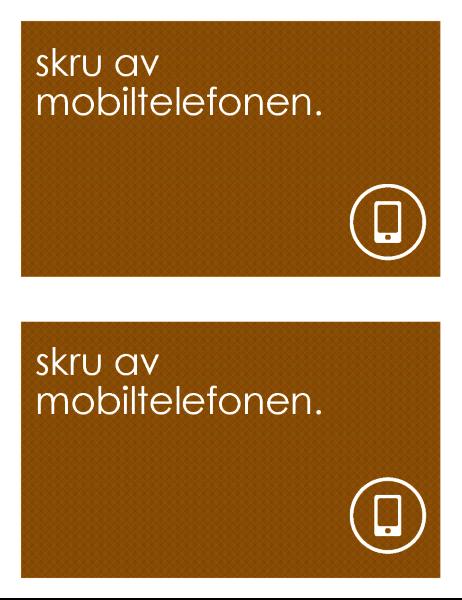 Skiltet Ikke bruk mobiltelefon (2 per side)