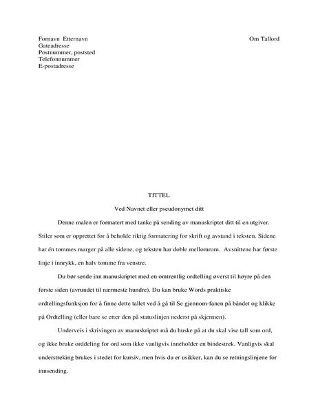 Format for fortellingsmanuskript
