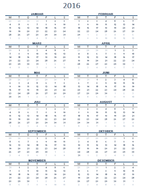 Kalender for ett år