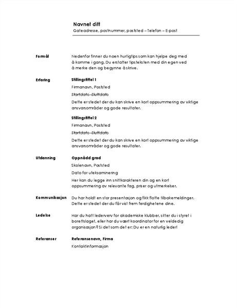 Kronologisk CV (minimalistisk utforming)