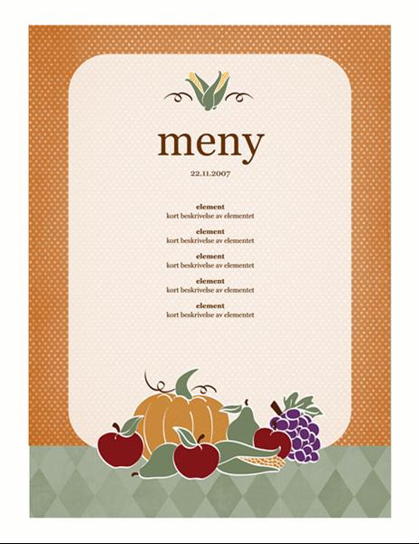 Meny (høstemotiv)