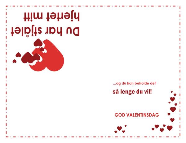 Valentinsdagskort med dikt (hjertemønster, brettet i fire)