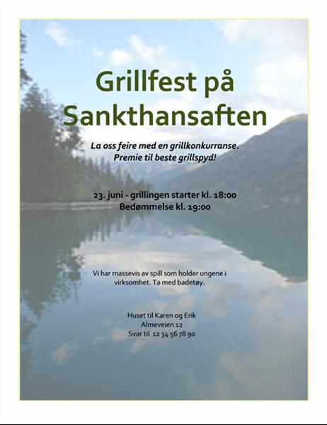 Flygeblad for grillfest på Sankthansaften