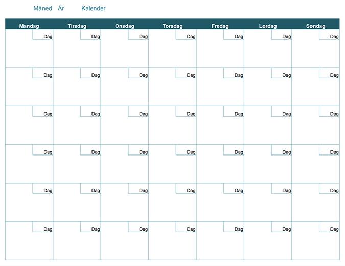 Tom månedlig kalender