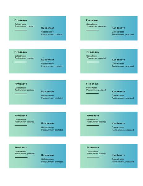 Forsendelsesetiketter (utforming med grønn gradering, 10 per side, fungerer med Avery 5163)