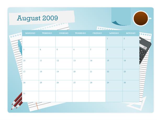 Akademisk kalender for 2009–2010 (august til august, mandag til søndag)