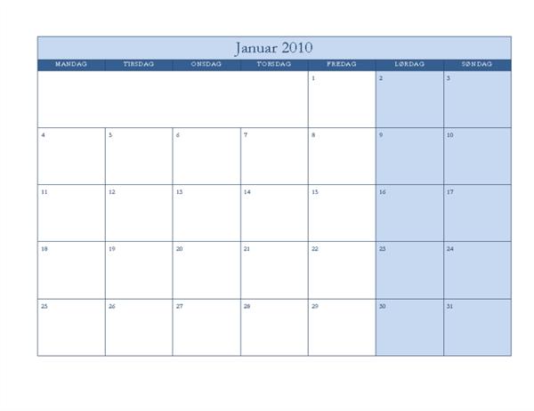 2010-kalender (klassisk blå utforming, mandag til søndag)