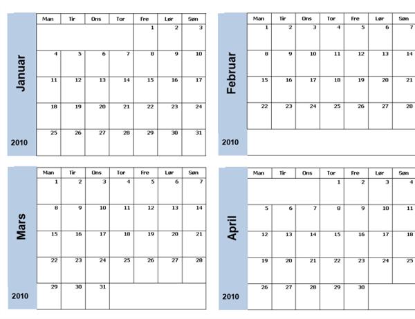 2010-kalender med blå kantlinje (3 sider, mandag til søndag)