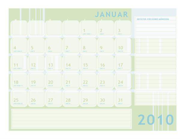 Juliansk kalender for 2010 (mandag til søndag)