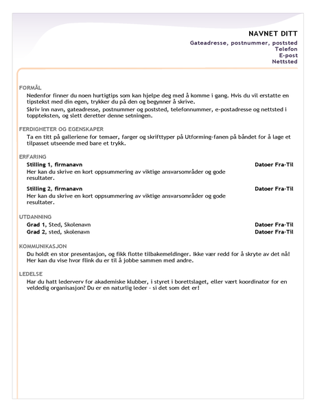 CV for nyutdannede