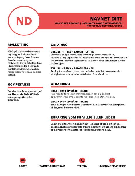 Profesjonell CV, utformet av MOO