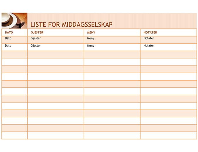 Liste for middagsselskap med meny