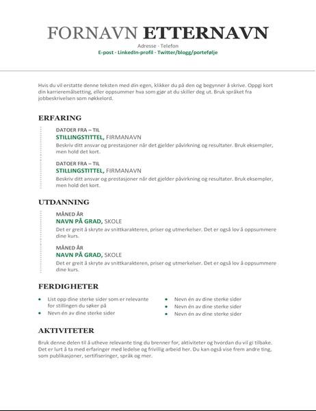 Moderne kronologisk CV