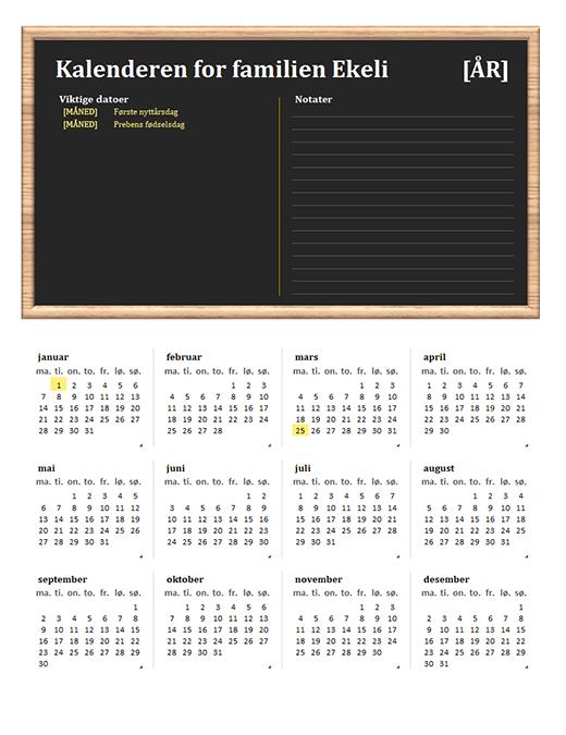 Familiekalender (alle år, ma.–sø.)