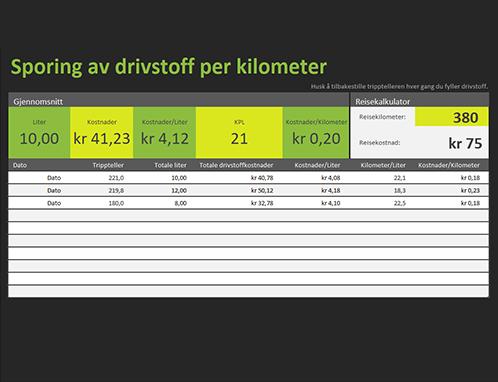 Logg for drivstoff-forbruk per kjørelengde