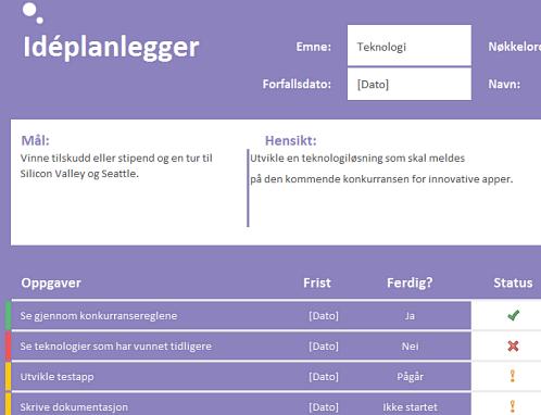 Idéplanlegger (oppgaver)