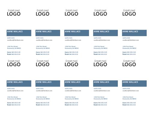 Visittkort, loddrett oppsett med logo (10 per side)