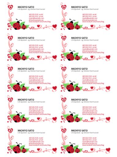 Visittkort (marihøner og hjerter, venstrejustert, 10 per side)