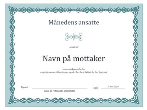 Diplom for månedens ansatte (utforming med blå kjede)