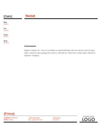 Forretningsnotat (rød og svart utforming)