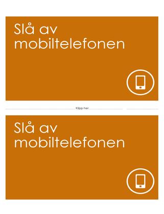 Plakat med påminnelse om å slå av mobiltelefon (oransje)