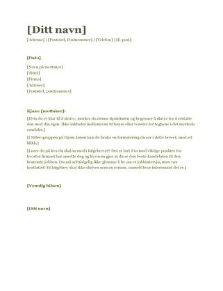 Følgebrev til CV (grønt)