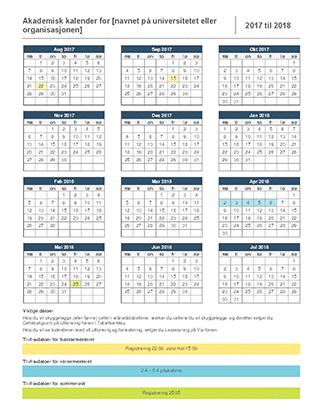 Akademisk kalender for 2017-2018