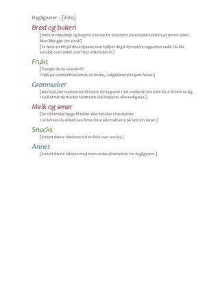 Handleliste for dagligvarer