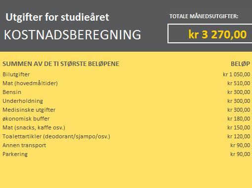 Beregning av universitetsutgifter