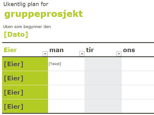 Tidsplan for gruppe