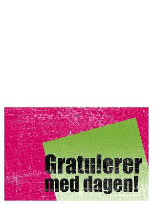 Bursdagskort, ripet bakgrunn (rosa, grønn, halv bretting)