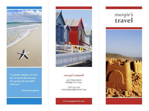 Reisebrosjyre med tre bretter (rød, gull, blå)